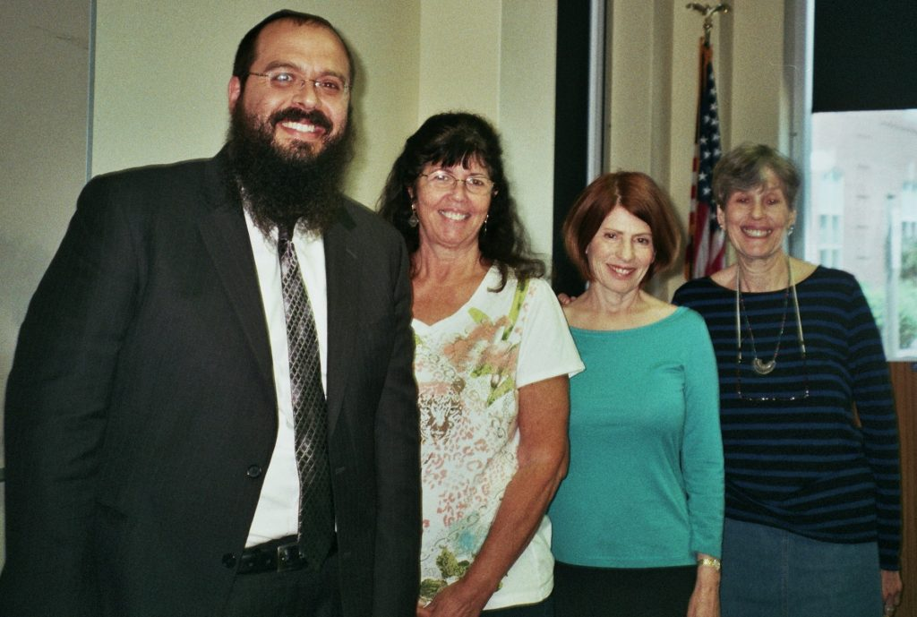 (from left) Rabbi Shalom Lubin, Ellen Nesson, Melanie Levitan, and Susan Waldman.