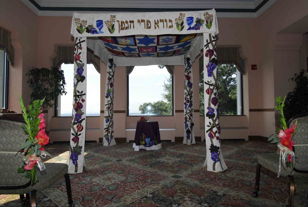 Our gorgeous quilted chuppah (Jewish wedding canopy).